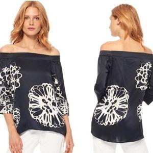 Ecru silk off the shoulder silk blouse small black